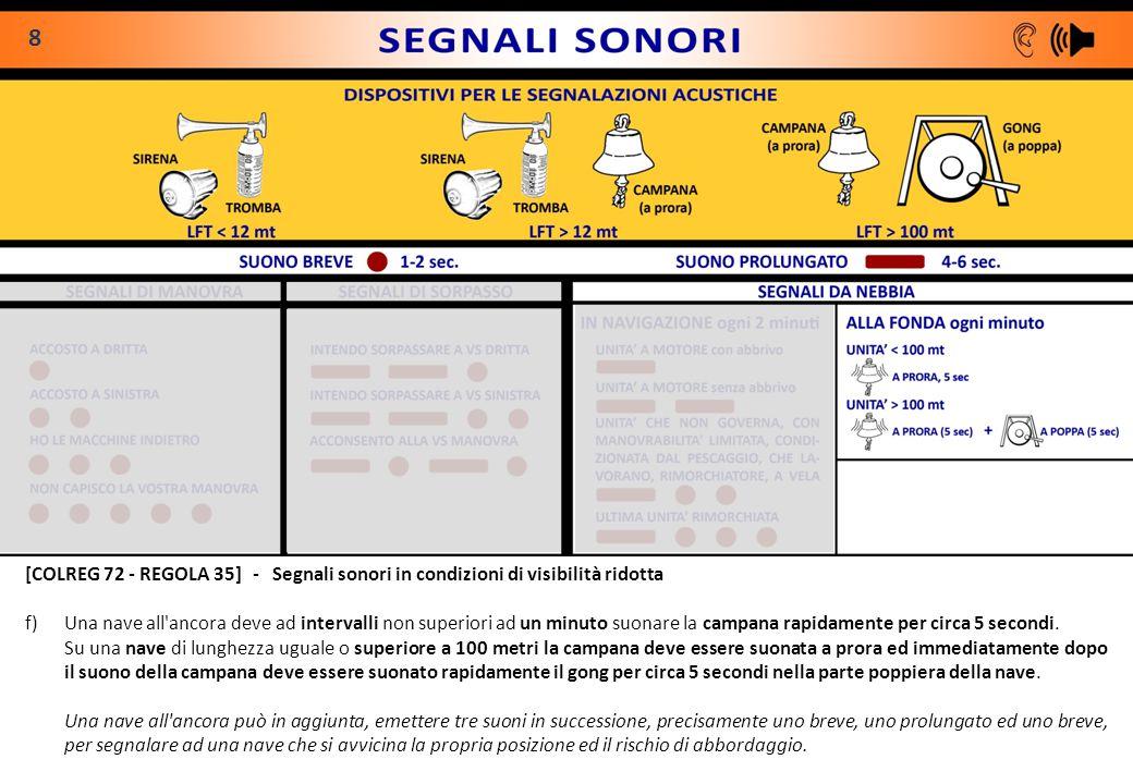 8 [COLREG 72 - REGOLA 35] - Segnali sonori in condizioni di visibilità ridotta.